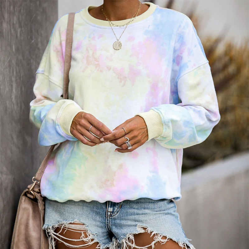 New 2019 Hot Selling Casual Style Tie Dye Print Long Sleeve Casual Crop Tops Autumn Winter Women Streetwear Sweatshirts Outfits