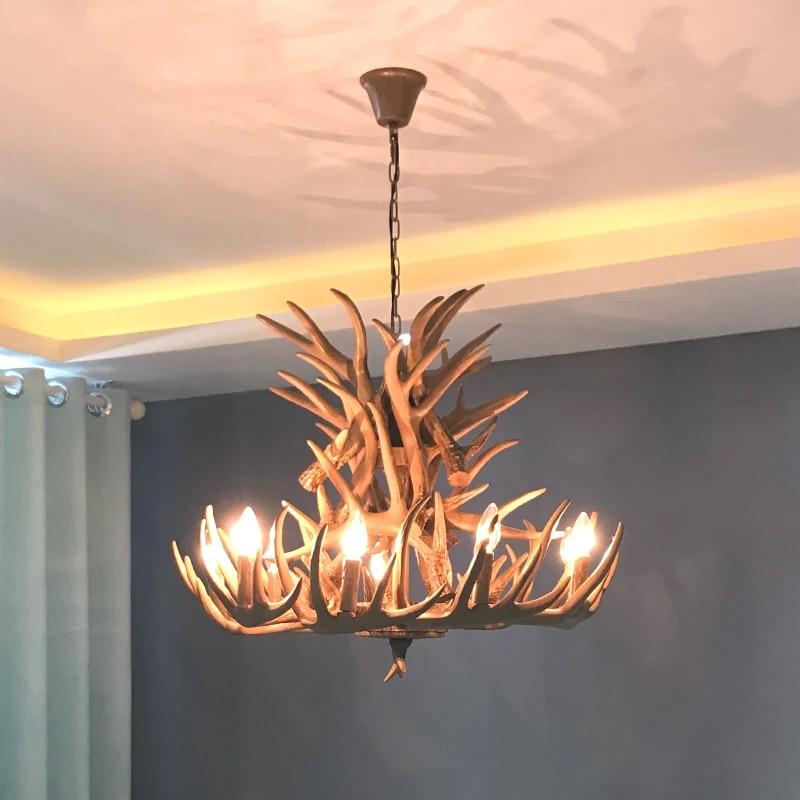 horn deer antler chandelier rustic lighting loft industrial vintage retro chandeliers coffee shop kitchen dining hangin lamp