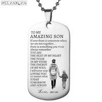 Mom Gibt EIN Geschenk Zu Meinem Sohn-Zu Meinem Erstaunliche Sohn Keychain Zubehör Edelstahl Military Anhänger Halskette