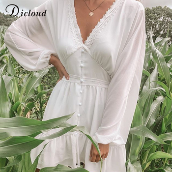 DICLOUD Sexy Plunge V Neck Women's Summer Dress White Lace Long Sleeve Mini Wedding Party Dress Ruffle Elegant Clothes 2021 5