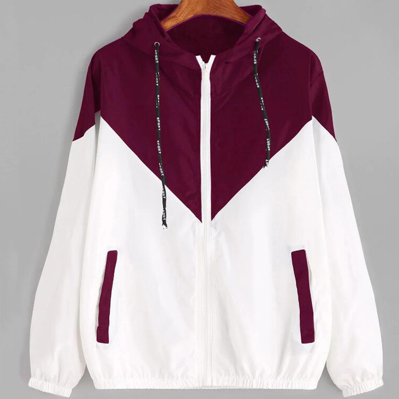 Women Hooded   Basic     Jackets   Autumn Hooded   Jacket   Two Tone Windbreaker   Jacket   Female Zipper Pockets Casual Long Sleeves Coats