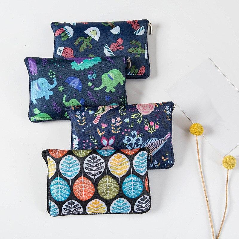 ETya Fashion Eco Friendly Shopping Bag Foldable Zipper Women's Handbags Waterproof Printing Reusable Shopping Bag Tote Bags