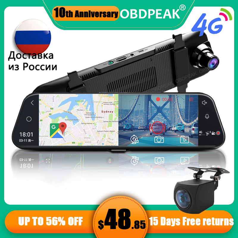 듀얼 1080P 4G 안드로이드 8.1 10 인치 스트림 미디어 자동차 백미러 블루투스 카메라 자동차 Dvr ADAS 슈퍼 나이트 와이파이 GPS 대시 캠