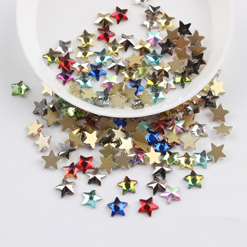 Все смешанные цвета, 30 шт, стразы для дизайна ногтей, сделай сам, без горячей фиксации, стеклянные камни для ногтей, драгоценные камни для 3D украшения для ногтей - Цвет: 5mm star
