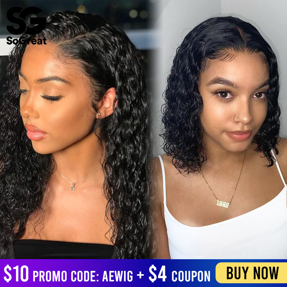 Short Bob Lace Front Human Hair Wigs Brazilian Curly Human Hair Wig For Black Women Hd Frontal Afro Deep Water Wave Long Wig