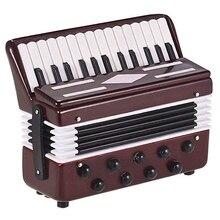 Мини модель аккордеона изысканный Настольный музыкальный инструмент украшения музыкальный подарок с чехол для хранения