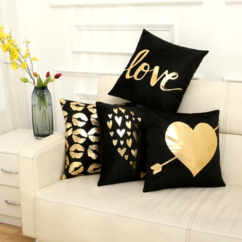 Fuwatacchi Christmas Cushion Cover Decorative Black Gold Foil Deer Words Pillowcase Home Chair Sofa Leaf Lips Pillow Cover 45*45 fuwatacchi black gold foil linen cushion cover leaf flowers diamond pillow cover for home chair sofa decorative pillows 45 45cm