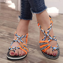 Summer Rope Sandals for Women Patchwork Sandalias Mujer 2019 Female Comfy Flat Sandals Lady EVA Sole Roman Style Chaussure Femme(China)