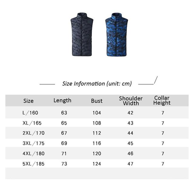 Winter Smart Self-heating Vest Cotton-padded Clothes Solid Color Sleeveless Vest Men's USB Charging Plus Velvet Jacket Men's 3