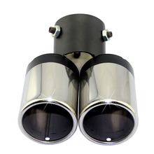 Auto Car Round Bent Exhaust Muffler Tip Universal Stainless Steel Exhause Dual Pipe Chrome Trim Modified Rear Tail Throat Liner trust ziva wireless compact black мышь