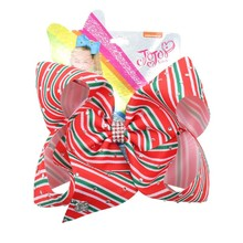 Christmas 7 Large Hair Bows for Girls Red Green Striped Printed Bowknot Hairgrips Rhinestones Clips Party Kids Headwear
