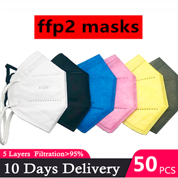 20pcs 6 Colors CE FFP2 KN95 Mask Safety Dust Respirator 5 Layers Kn95 Mask  Face Protective Masks Mouth Dustproof Reusable FFP3