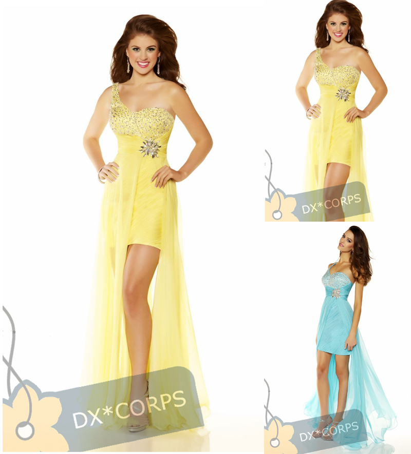 Free Shipping 2015 New Design One Shoulder Custom Wathet Blue Short Front Long Back Formal Gowns Sexy Yellow/blue Prom Dresses