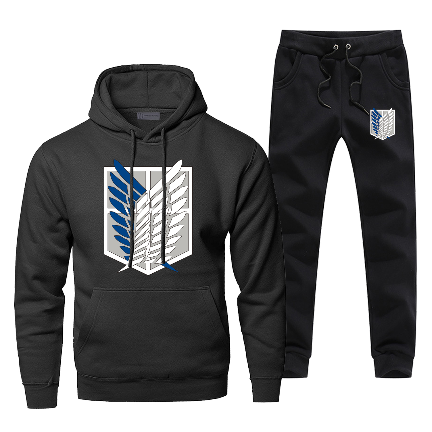 Attack On Titan Mens Hoodies Sets Two Piece Pant Japanese Anime Hoodie Sweatshirt Sweatpants Streetwear Sportswear Sweatshirts