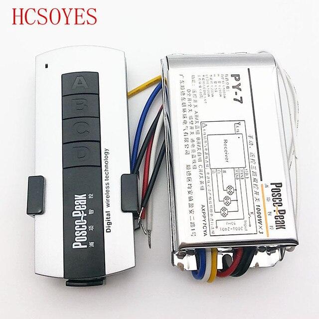 LED3 interruptor remoto inalámbrico de alta tensión 1000W x 3 canales, controlador de paquetes, control remoto sensible al RF