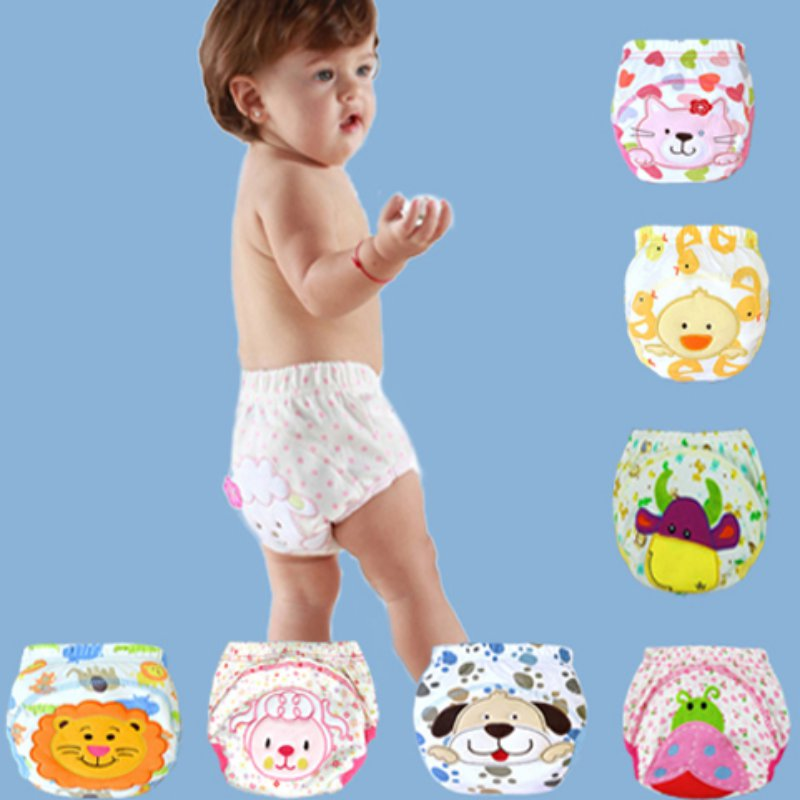 Cotton Baby Training Pants Baby Diapers Reusable Cloth Diaper Cartoon Lion Dog Nappies Washable Infants Children Panties