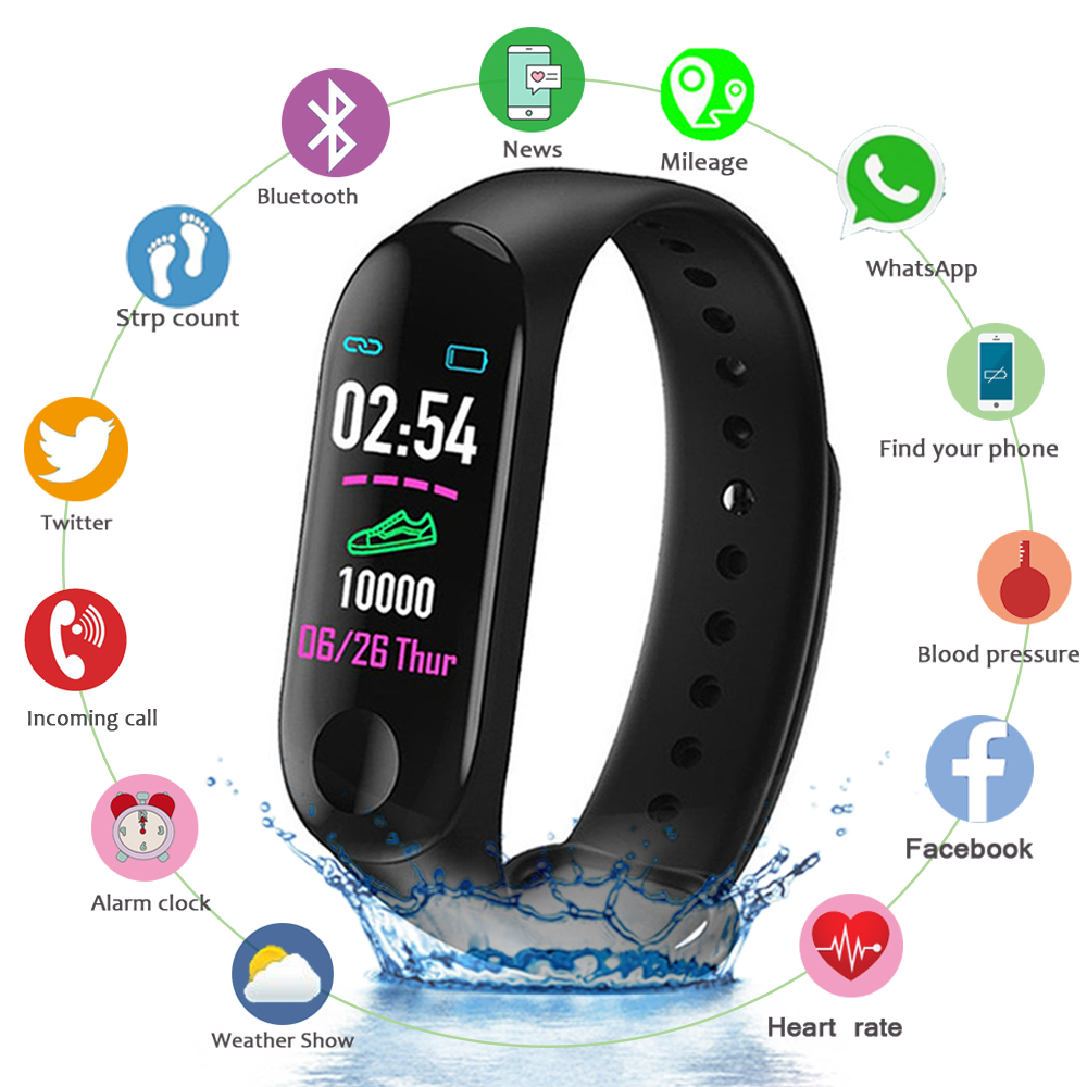 M3 Smart Wristband Color Screen Smart Band IP67 Waterproof Blood Pressure Heart Rate Activity Fitness Men Women Smart Bracelet