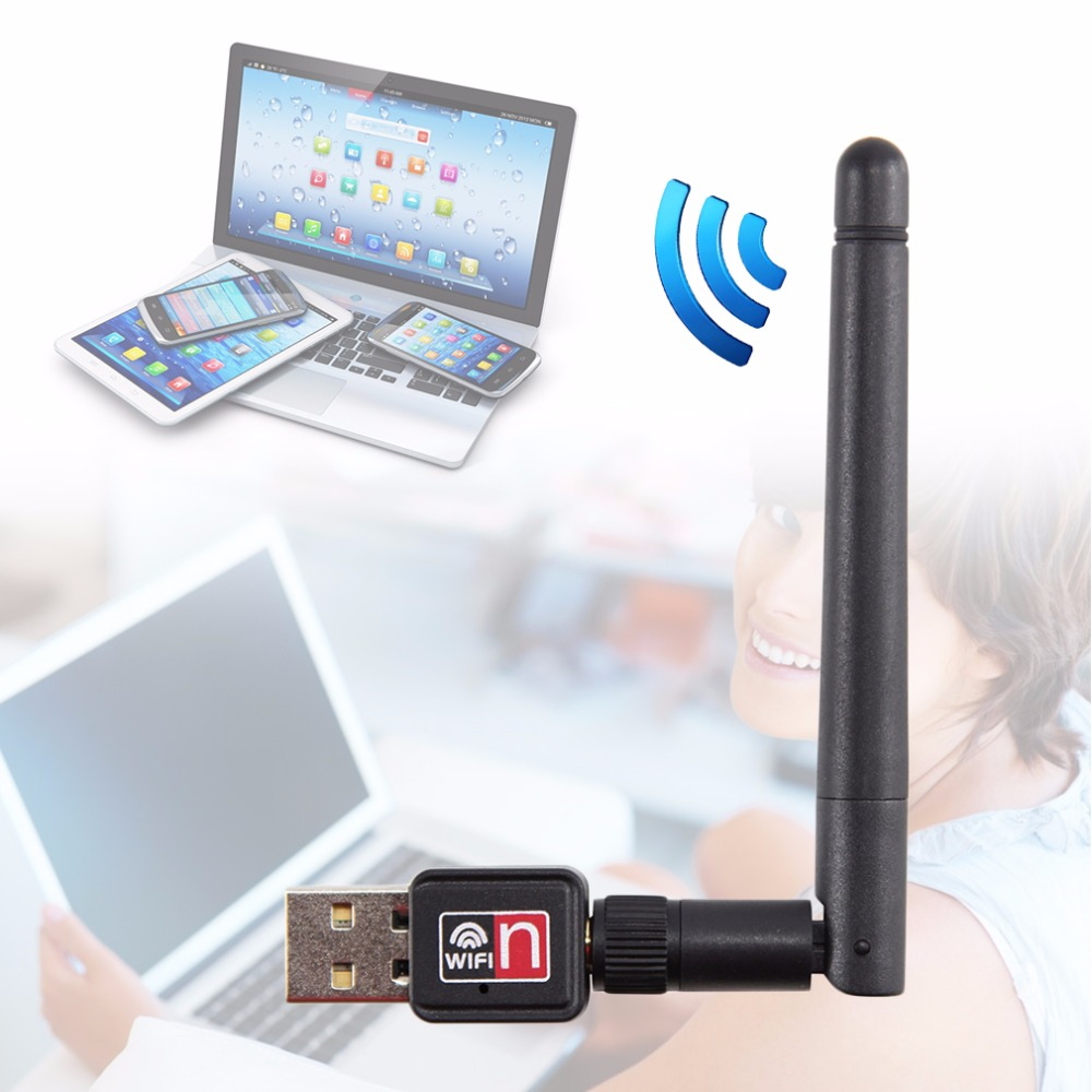 Mini USB 150Mbps Wireless LAN Adapter 802.11b WiFi 2dBi Antenna Portable Home Office Wireless Network Cards Drop Shipping
