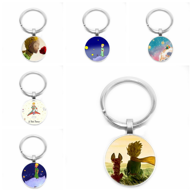 2019 Children's Jewelry Ornaments Cartoon Anime Little Prince and Fox Logo Glass Cabochon Pendant Keychain Jewelry Gift