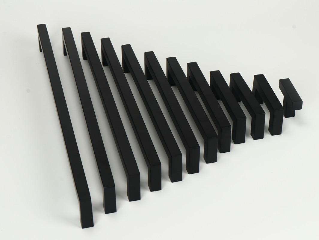 3-15 Polegada preto de aço inoxidável quadrado armário gaveta puxa armário do banheiro alças puxadores de porta móveis cozinha