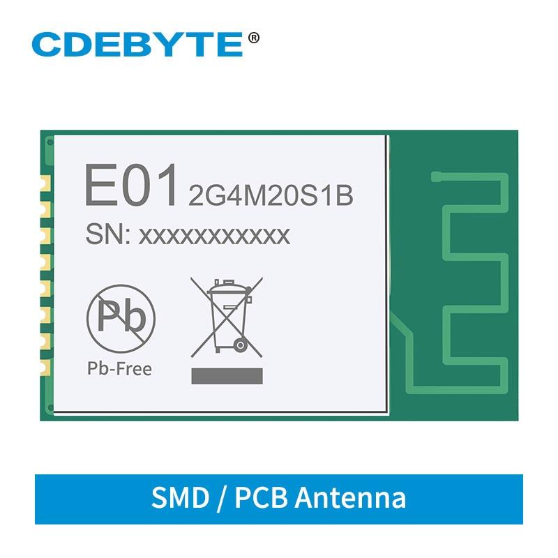 2.4GHz SMD Wireless IoT Transceiver Module E01-2G4M20S1B 20dBm 800m PCB Antenna NRF24L01 PA LNA Transmitter And Receiver