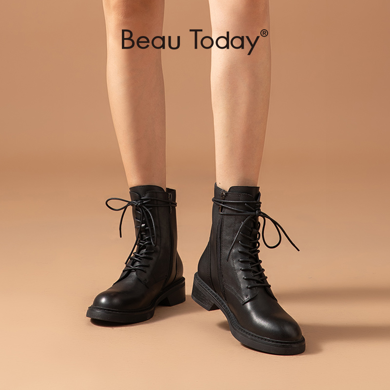 BeauToday/женские ботильоны из коровьей кожи, с перекрестной шнуровкой, на молнии, с круглым носком; Сезон осень зима; Женская обувь в байкерском стиле ручной работы; 03131|Полусапожки|   | АлиЭкспресс