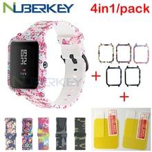 4in1 acessórios smartwatch para xiaomi huami amazfit bip cinta camuflagem padrão macio pulseira para amazfit bip caso tela filme