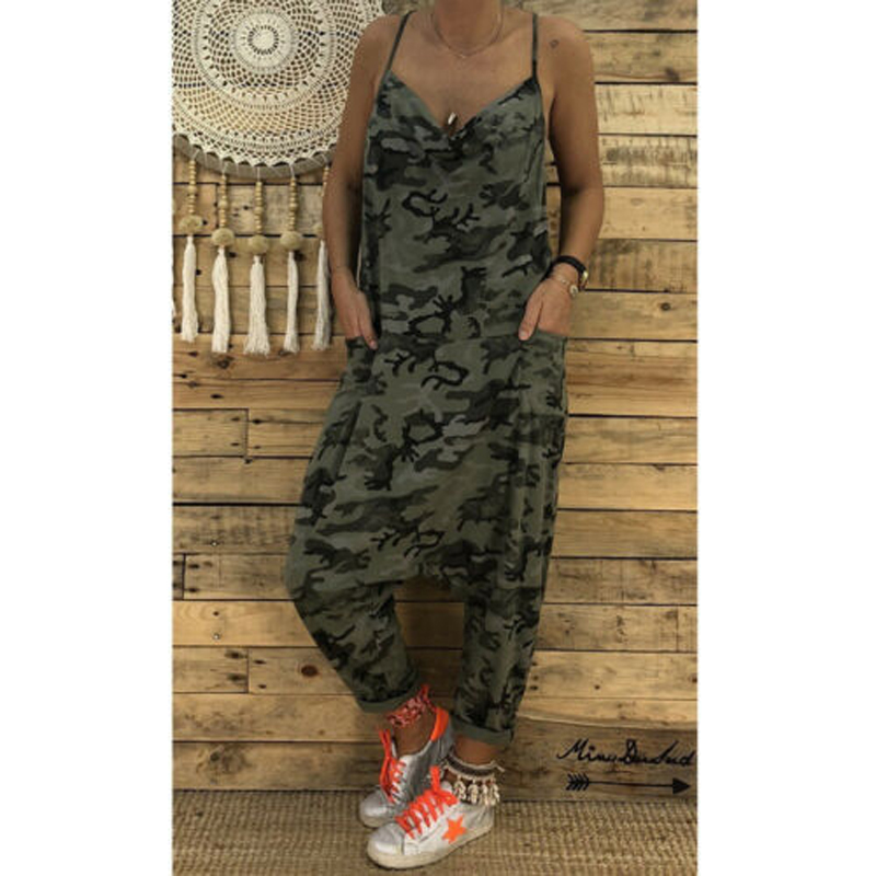 Summer Women Sexy Jumpsuits Camouflage Print Spaghetti Strap V Neck Casual Sleeveless Military Streetwear Rompers
