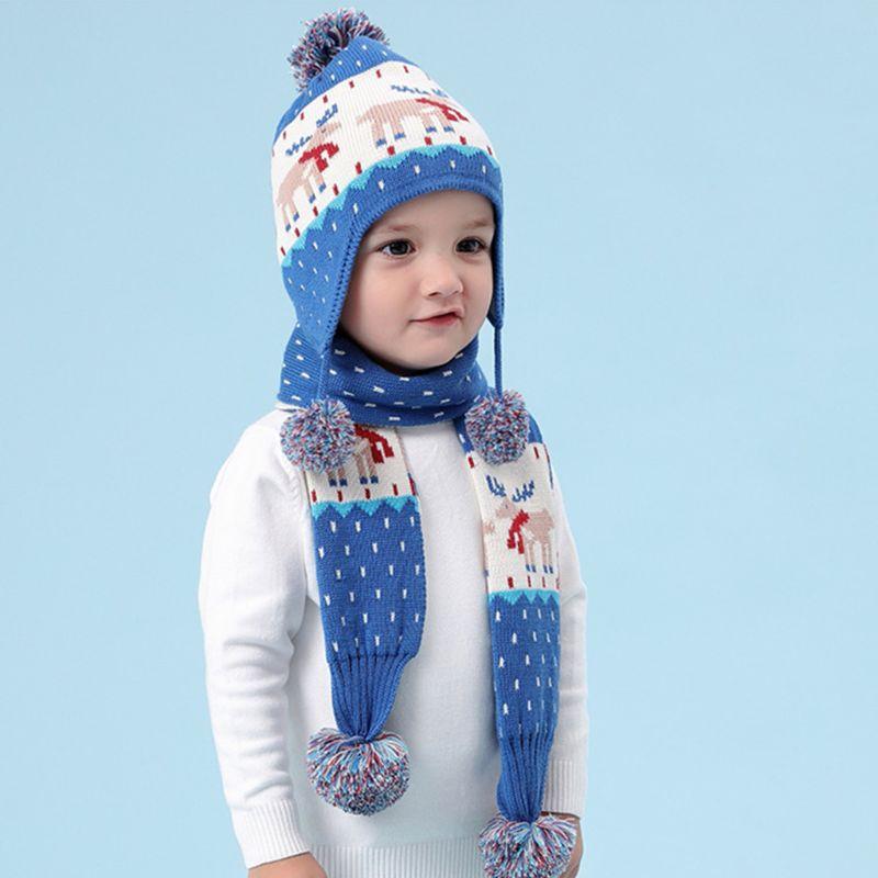 2020 New Toddler Kids Winter Reindeer Jacquard Beanie Cap Scarf Pompom Earflap Cap Warmer