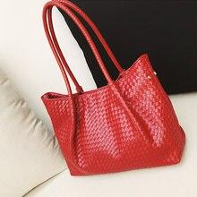 2020 neue Red Woven Taschen Für Frauen Große Kapazität Damen Leder Handtaschen Marke frauen Tasche Mode Frau Schulter Tasche totes Taschen