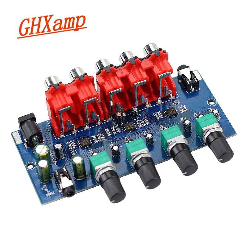 GHXAMP Multi-Source RCA Mixer Stereo Audio Reverberator  (4 Input 2 Output ) Four Way RCA Input ,RCA+3.5 Earphone Output
