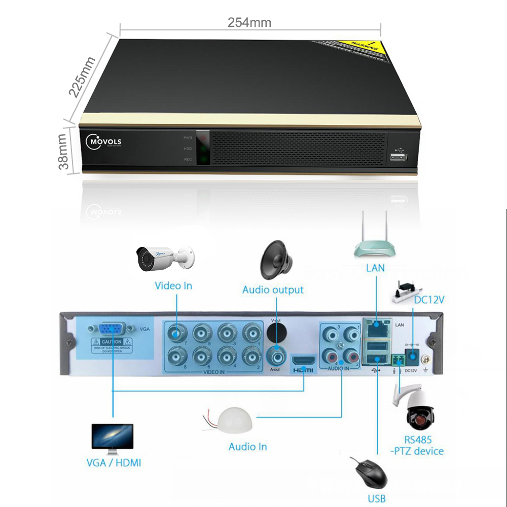 Movols 1080P 8CH DVR CCTV System 2PCS Bunte & 2PCS IR Nacht Vision Sicherheit Kamera Kit Hause outdoor Video Überwachung Set