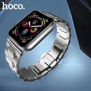 Image 1 - Ремешок HOCO для Apple Watch, ремешок из нержавеющей стали для Apple Watch 40 мм 44 мм, металлический браслет с звеньями, ремешок для i Watch Series 4 3 2 1, 2019