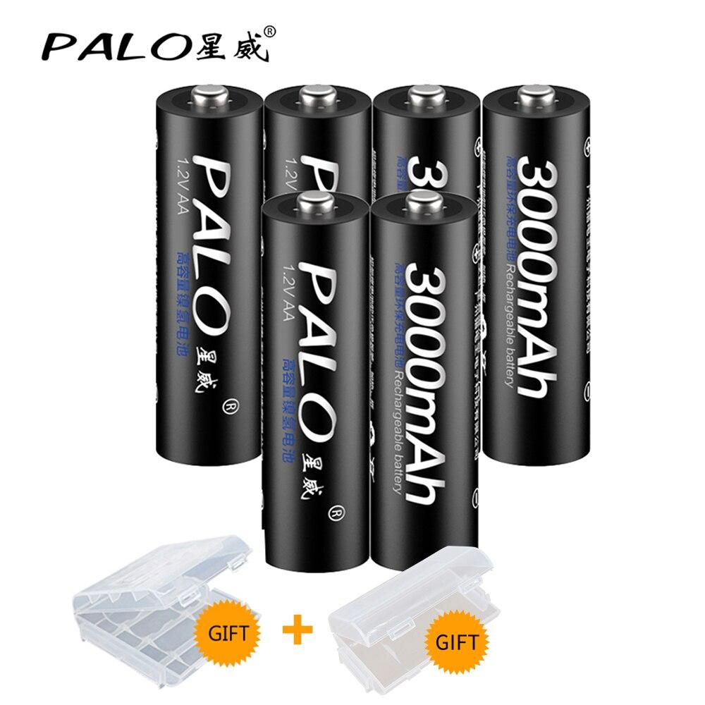 PALO 2 ~ 8 pièces 1.2V AA batterie Rechargeable 3000mah AA NiMH 1.2V Ni-MH 2A Batteries rechargeables de batterie pré-chargées pour jouet d'appareil-photo