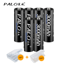 6Pcs PALO 1.2V AA Rechargeable Battery 3000mah AA NiMH 1.2V Ni-MH 2A Pre-charged Bateria Rechargeable Batteries new arrival 4pcs pkcell 1 2v aa ni mh 2600mah lsd rechargeable batteries bateria pre charged batteries set with 1200 cycle
