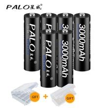 цена на 6Pcs PALO 1.2V AA Rechargeable Battery 3000mah AA NiMH 1.2V Ni-MH 2A Pre-charged Bateria Rechargeable Batteries
