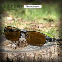 CAPONI Square Sunglasses For Men Pure Titanium Frame Polarized Day And Night Driving Photochromic Lenses Sun Glasses BSYS1190