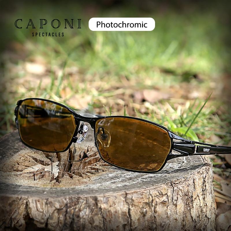 CAPONI gafas de sol cuadradas para hombre Marco de titanio puro polarizado conducción día y noche Lentes fotocrómicas gafas de sol BSYS1190