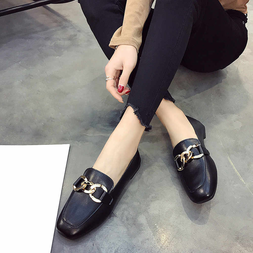 Femmes chaussures décontractées doux mocassins décontractés appartements chaussure sans lacet solide bateau chaussures femme rétro plat talon chaussures femmes ballerines #20