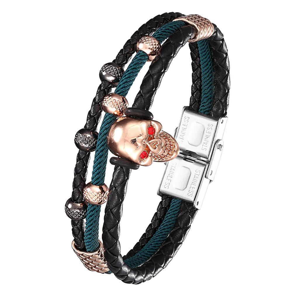 2020 Fashion Men s Black Leather Bracelet MicropavéCZ Skull Men s Leather Multi layer Wrap Bracelet