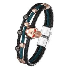 2020 Fashion Men's Black Leather Bracelet MicropavéCZ Skull Men's Leather Multi-layer Wrap Bracelet