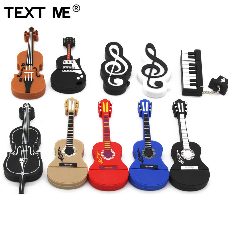 Texte moi dessin animé usb 2.0 instrument de musique piano guitare note violon 64GB clé USB lecteur de stylo 4GB 8GB 16GB 32GB U disque
