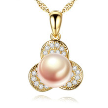 S925 Silver Necklace Electroplated 18K 7-7.5mm Natural Pearl Cross-border Jewelry