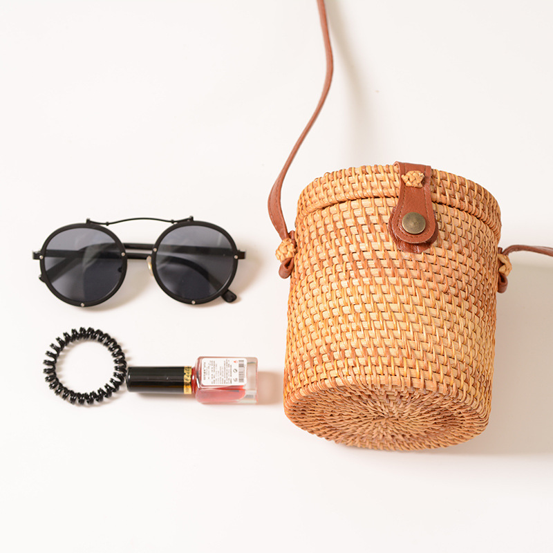 Lovevook Woven Rattan Bags For Ladies Bucket Straw Bags For Summer Beach Bags For Travel Women Shoulder Crossbody Bags Bohemia