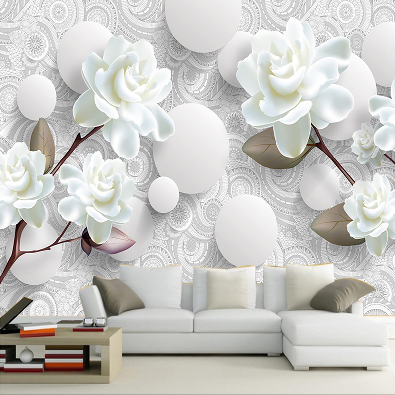 Dropship Custom Size Modern Creative 3D Stereo Relief Mural Simple Flower  For Living Room TV Background Home Decor Wall Paper