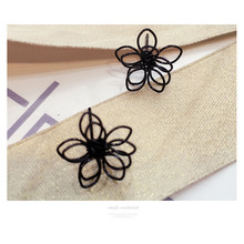 Korean Trinkets Simple Double Layer Open Work Flowers Black Studf Earrings Female