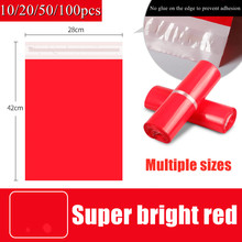 10/20/50/100pcs Red Courier Packing Bags Thicken Storage Bag Waterproof Bags Pe Material Envelope Mailer Postal Mailing