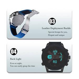 Image 3 - Relojes deportivos DUANTAI para hombre, reloj de lujo con doble huso horario, hebilla de cuero para hombres, resistente al agua, a prueba de agua, 3AM