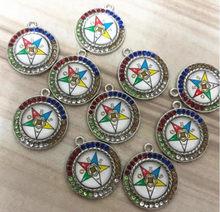 Ronde Kleurrijke Rhinestone Eastern Star Oes Hanger Bedels Voor Diy Armband Sieraden Maken 20 Stks/partij