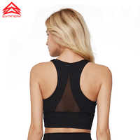 SYPREM Sports Bra Women's Removable Padded Crop Top Wirefree Mesh Cross Back Medium Support Workout Running Yoga Bra,WX181002